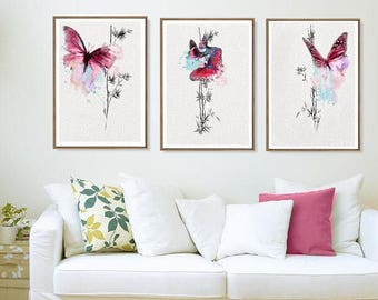 Butterfly Print Set 3 Watercolor Painting Poster Minimalist Art Drawing Pink Wall Decoration Abstract Illustration