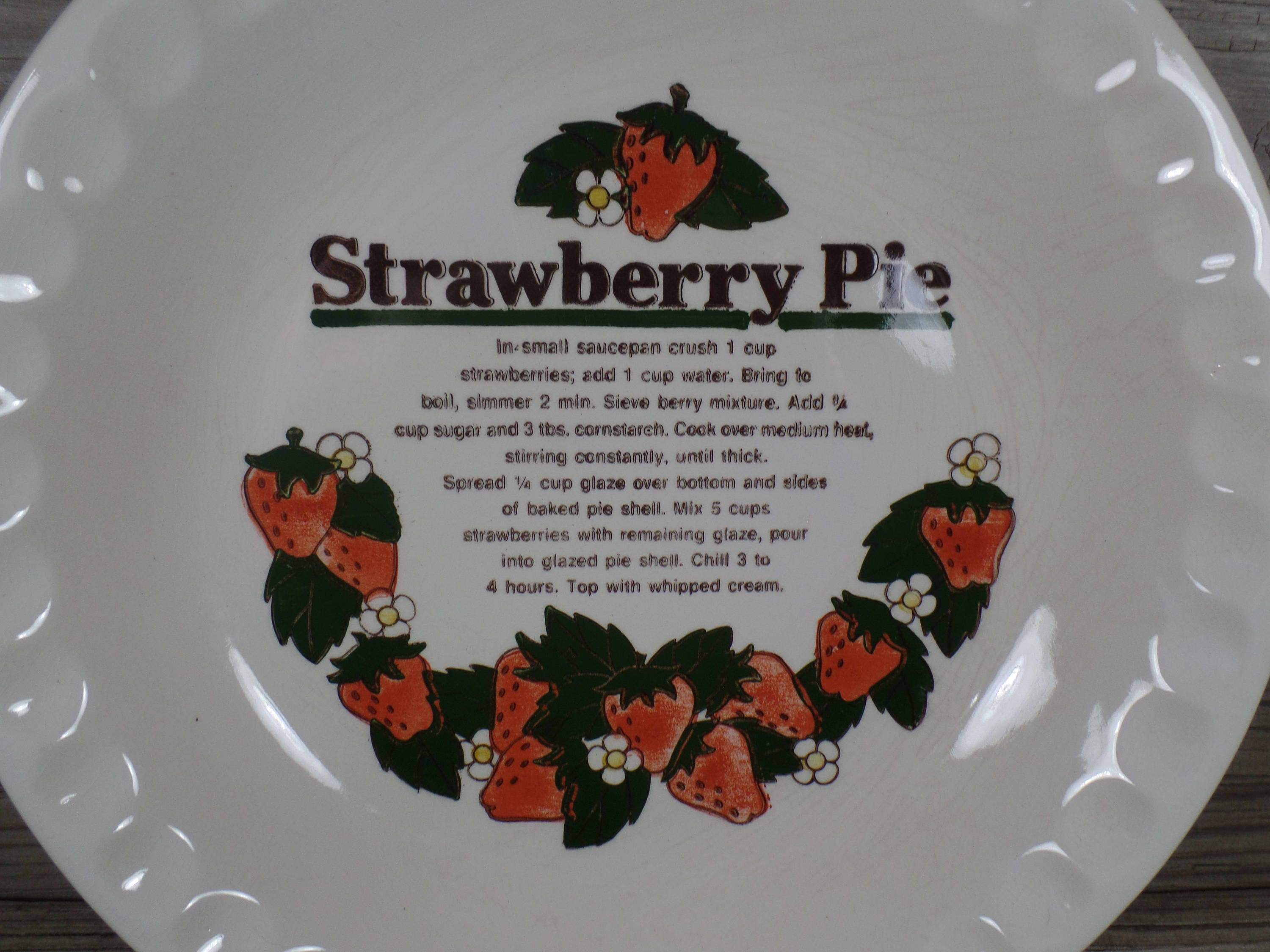 Sold by BasketCaseDiva & Ceramic Strawberry Pie Recipe Plate Deep Dish Pie Plate Kitchen ...