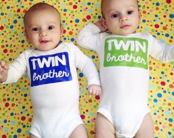 Twin Brother Shirt Onesie Bodysuit + Baby Toddler Kid + Hand Painted + YOU CHOOSE the Color! + Modern Sibling Shirt