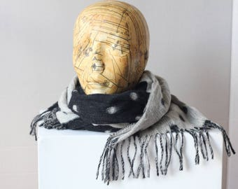 Vintage Two-sided wool cashmere blend Charcoal White Grey Black Scarf Shawl fringed