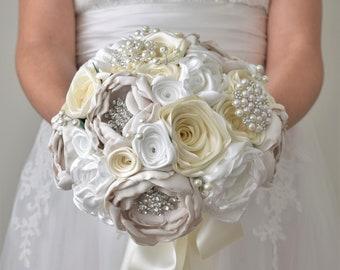 Ivory brooch bouquet,Ready to ship bouquet ivory satin bouquet, fabric flower bouquet, vintage bouquet