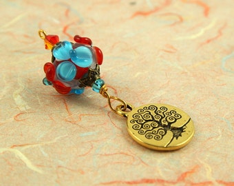 Blessingway bead - Summer Blooms Golden Tree of Life - Mother Blessing bead, mama goddess
