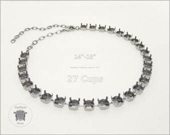 1 pc.+ 27 Cups, SS39 (8mm) Empty Cup Chain for Necklace - Rhodium color