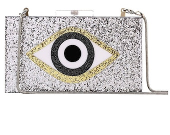 Black Glitter Evil Eye Clutch