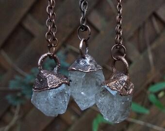 Herkimer Diamond Necklace, gemstone necklace, Crystal Necklace, statement necklace, diamond necklace, healing stone, Raw Crystal necklace, boho necklace