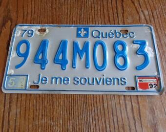 Vintage Quebec License Plate,Je Me Souviens, License Plate Vintage, License Plate Quebec, Vintage Quebec, License Plate Shop, License Plate