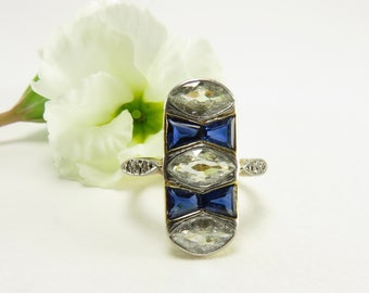 Spring Sale Circa 1920 Marquise Diamond and Sapphire Ring