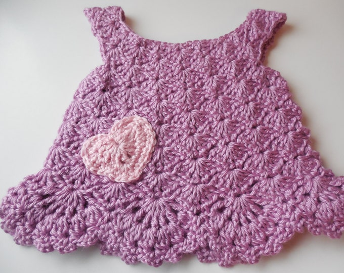 Baby Jumper Dress - Purple with Pink Heart -  0 to 3 Months - Handmade Crochet - Ready to Ship