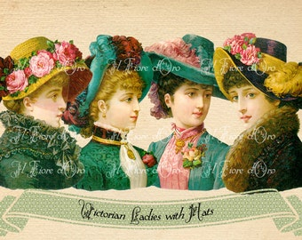 Ladies with Hats - Beautiful Victorian images for découpage decorations, scrapbooking, cards, exotic tags DIGITAL DOWNLOAD