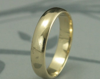 Men's Gold Band--Gold Wedding Ring--Yellow Gold Traditional Handmade Wedding Band--Recycled Gold Ring--Rounded Men's Band--Plain Gold Band