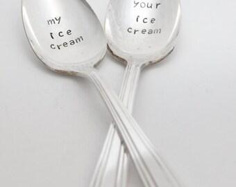 My Ice Cream - Your Ice Cream   Ice Cream Spoon Gift Set, Couple Present, Stamped Silverware, Ice Cream Spoons Set, Friendys Ice Cream Image