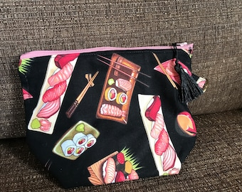 Sushi Fabric Zippy pouch with little tassel and key ring