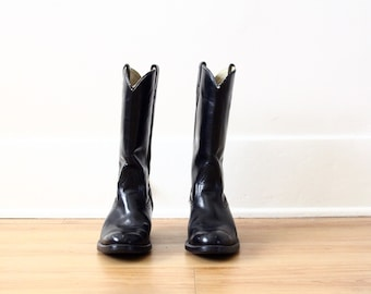 mens black leather boots - cowboy boots - vintage western boot - motorcycle riding boot - ACME - US size 7