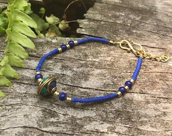 Beaded Lapis Lazuli bracelet, boho bracelet, beach bracelet, hippie bracelet, ethnic jewellery