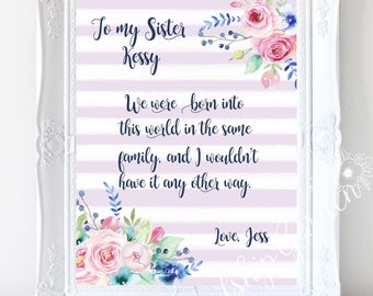 Sister Gift for Sister personalized Sister Birthday Brother to Sister gift Sister to sister gift Sister gift ideas Long distance sisters