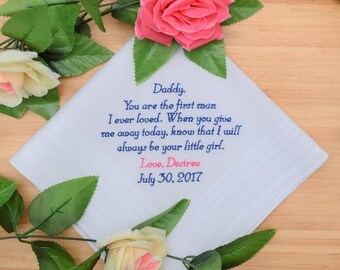 Father of the Bride Handkerchief. Embroidered Handkerchief. Personalized Handkerchief. Gift for Dad. Embroidered gift. Custom handkerchief.