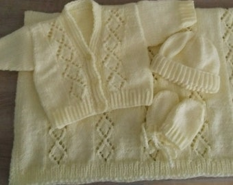 Hand knit blanket, cardigan, hat and mitts