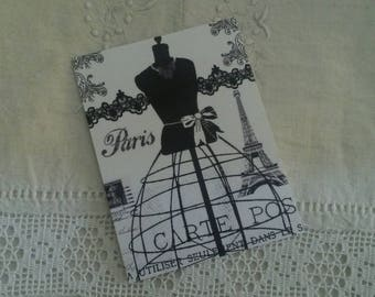 Vintage postcard for scrapbooking / spirit 50s sewing / embellishment