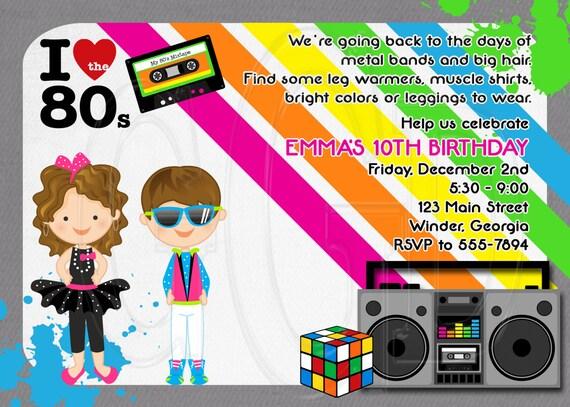 80 ' s party inviter des années 80 invitation des années