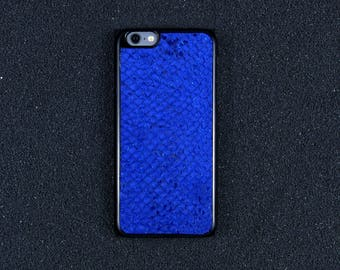 Glossy Blue Salmon Leather iPhone Case - iPhone 8/7/6S/6 - Made in Germany by Icecase