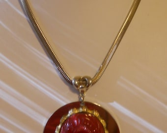 Bold 1960s Scarab Pendant Necklece on Monet Chain upcycled  OOAK