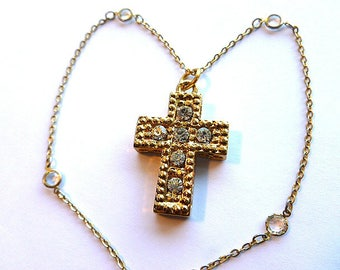 GOLD & CRYSTALS and Rhinestones Cross Necklace, Vintage Goldtone Rhinestone Cross with Fancy Chain, Cross Necklace with Crystal Chain