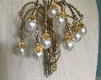 Vintage Hobe Weeping Willow with Faux Pearl Brooch, Estate Jewelry