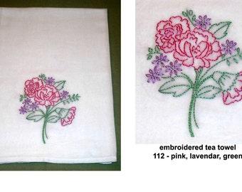 Hand Embroidered Tea Towel Flour Sack Cotton Flowers Plants Nature Vintage Retro Home Decor Kitchen Wedding Gift