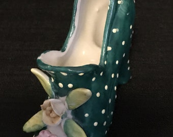 Vintage Shoe Figurine High Heel Shoe Polka Dot with Flowers Green with Pink Flowers