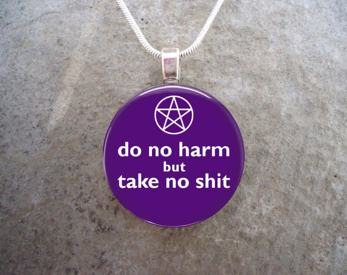 Wiccan Jewelry - Glass Pendant Necklace - Do No Harm But Take No Sh*t - Purple