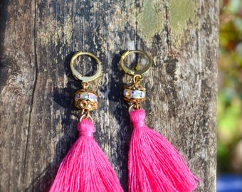 Hot Pink Tassel Earrings with Swarovski Rhinestone Charms handmade colorful earrings lightweight bright and colorful jewelry gift