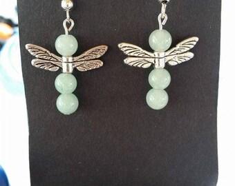 Dragonfly, Green Earrings