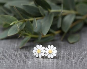 Teeny Daisy flower earrings in solid silver and 18ct gold, Daisy stud earrings, Daisy jewelry, Silver daisy earrings