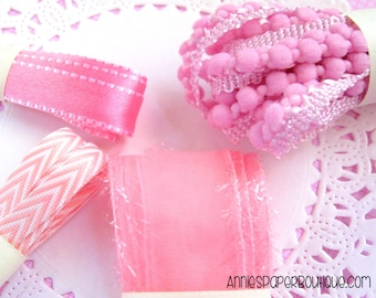 Pretty In Pink Ribbon Set - Gift Wrap, Packaging, Crafts - Satin Reversible, Chevron Twill, Pompom, Sheer Tinsel Edge