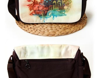 Ohmu and Teto Fox Squirrel from Nausicaa Brown Studio Ghibli Canvas Messenger Bag