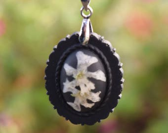 Real Flower Necklace / White WildflowernNecklace / Pressed Flower Necklace / Flower Resin Necklace / Nature Jewelry / Real Flower Jewelry