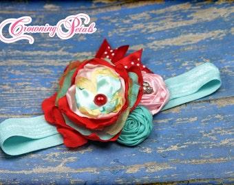 Aqua, Red, Light Pink Headband, Girl's Hair Accessories, Turquoise Fabric Flower Hair Piece, M2M Matilda Jane, Baby Girl Hair Bow