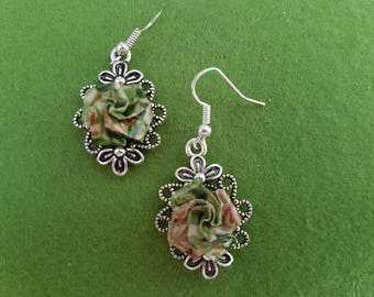 Pink and green earrings, green and pink earrings, pink flower earrings, green roses, pink rose earrings, green flower earrings,