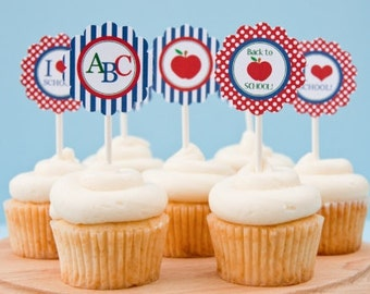 Printable Back to School Cupcake Toppers