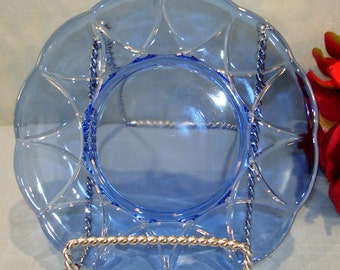 Newport or Hairpin by Hazel Atlas Cobalt Blue Depression Glass Bread and Butter Plate, 6 inch