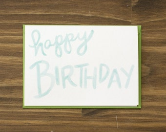 teal and green happy birthday card
