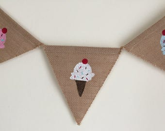 Ice Cream Burlap Banner-Birthday Banner-Summer Banner-Free Shipping!