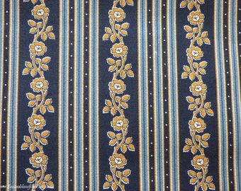 """Blue Cotton Reproduction Fabric - Indigo Floral - Andover Quilting Quality Cotton - by the yard - 45"""" WIDE - EP Cotton #213"""