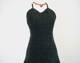 1930s Grey &  Black Knit Swimsuit...,.......... SENSATIONAL! .........size SMALL
