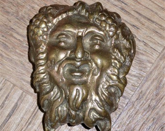 Antique French  Bronze  Mask Baccus God of Wine Decorative Onlay