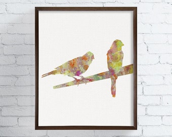 Bird Home Decor, Bird Wall Art, Bird Art Print, Bird Watercolor Painting, Canary, Orange, Autumn Decor, Nature Prints For Home,  Art, Framed