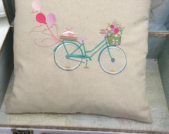 Embroidered Vintage Bicycle  Bike Pillow, Cushion