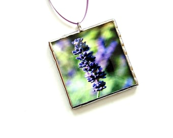 Lavender ornament, photo ornament, Spring decor flower ornament, purple lavender garden, lavender flower gift, gardener gift