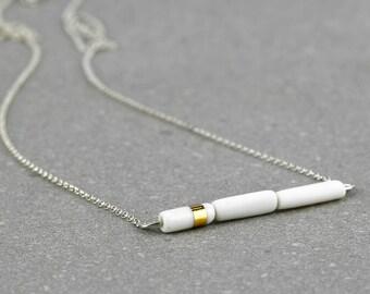 Porcelain Minimalist Geometric Jewelry. Ceramic Contemporary Delicate Necklace. White&Gold. Wedding Elegant Jewelry Design by CONCEPTstudio.