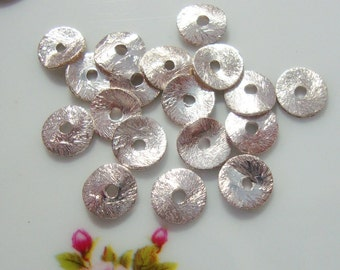 Sterling Silver Wavy Brushed disc, 6mm, 6 pc